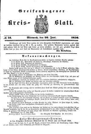 Greifenhagener Kreisblatt on Jun 26, 1850