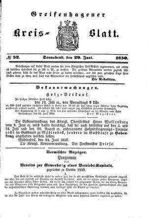 Greifenhagener Kreisblatt vom 29.06.1850
