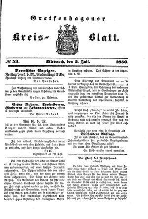 Greifenhagener Kreisblatt vom 02.07.1850