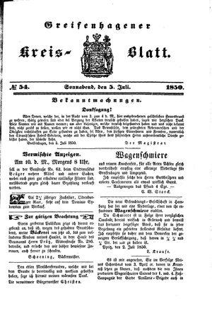 Greifenhagener Kreisblatt vom 05.07.1850