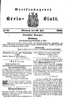 Greifenhagener Kreisblatt vom 10.07.1850