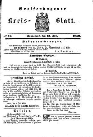 Greifenhagener Kreisblatt vom 13.07.1850