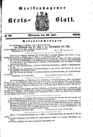 Greifenhagener Kreisblatt vom 17.07.1850
