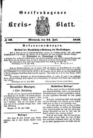 Greifenhagener Kreisblatt vom 24.07.1850