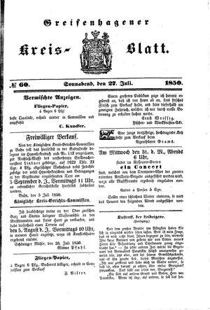 Greifenhagener Kreisblatt on Jul 27, 1850