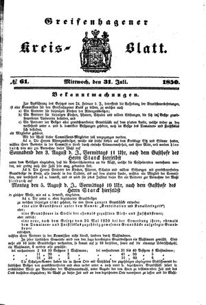 Greifenhagener Kreisblatt vom 31.07.1850