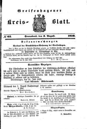 Greifenhagener Kreisblatt vom 03.08.1850