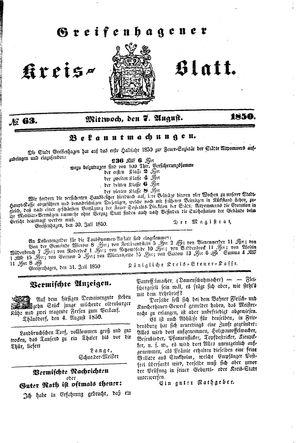 Greifenhagener Kreisblatt vom 07.08.1850