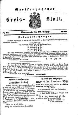 Greifenhagener Kreisblatt vom 10.08.1850