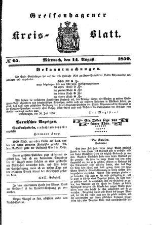 Greifenhagener Kreisblatt vom 14.08.1850