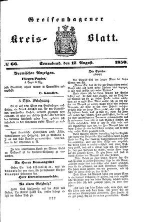 Greifenhagener Kreisblatt vom 17.08.1850