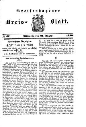 Greifenhagener Kreisblatt vom 21.08.1850