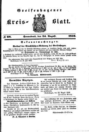 Greifenhagener Kreisblatt vom 24.08.1850