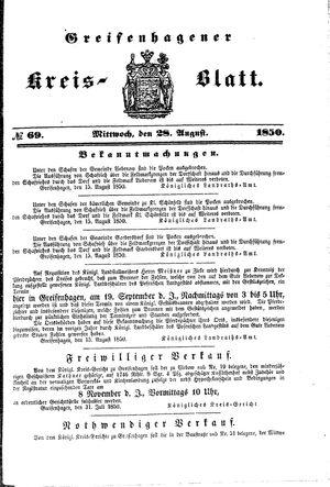 Greifenhagener Kreisblatt vom 28.08.1850