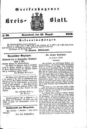 Greifenhagener Kreisblatt vom 31.08.1850