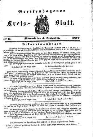 Greifenhagener Kreisblatt vom 04.09.1850