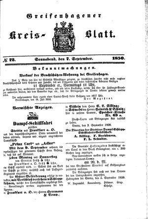 Greifenhagener Kreisblatt on Sep 7, 1850