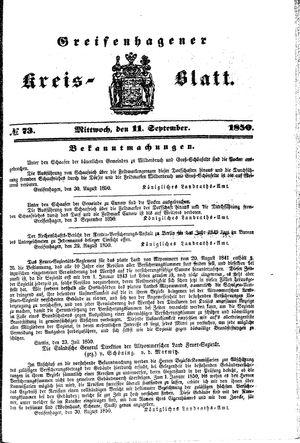 Greifenhagener Kreisblatt vom 11.09.1850