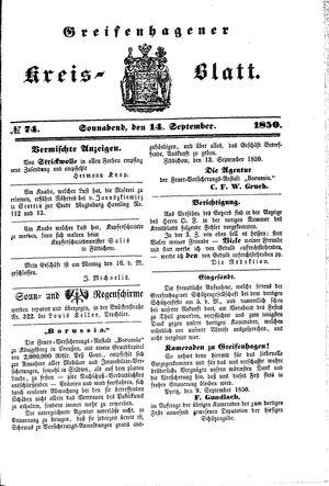 Greifenhagener Kreisblatt vom 14.09.1850