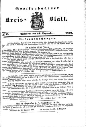 Greifenhagener Kreisblatt vom 18.09.1850