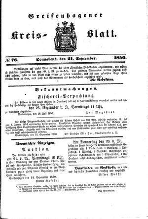 Greifenhagener Kreisblatt vom 21.09.1850