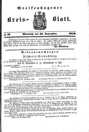 Greifenhagener Kreisblatt vom 25.09.1850