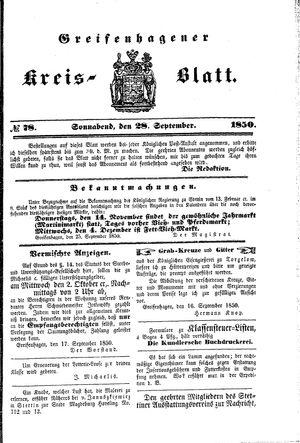 Greifenhagener Kreisblatt vom 28.09.1850