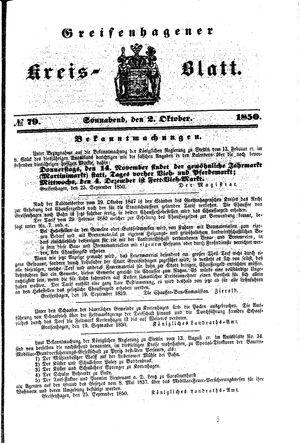 Greifenhagener Kreisblatt vom 02.10.1850
