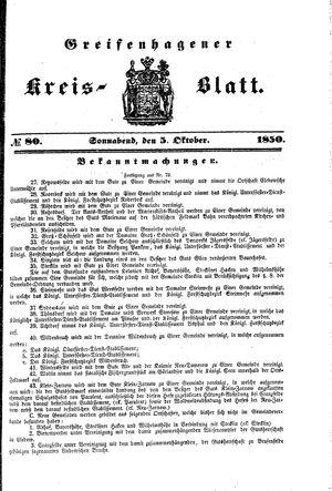 Greifenhagener Kreisblatt vom 05.10.1850