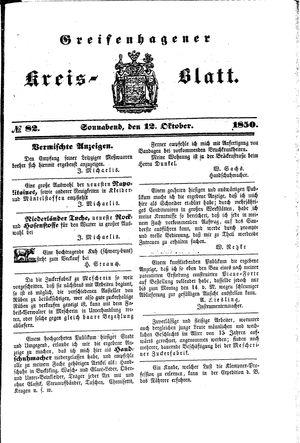 Greifenhagener Kreisblatt on Oct 12, 1850