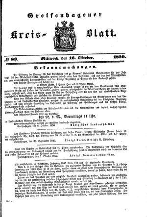 Greifenhagener Kreisblatt vom 16.10.1850