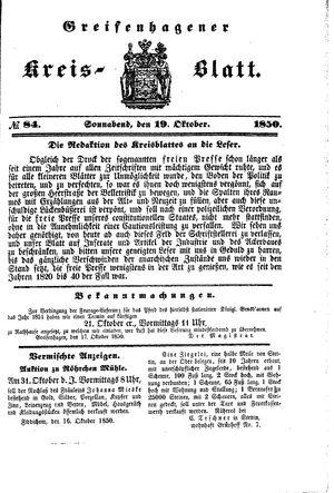 Greifenhagener Kreisblatt vom 19.10.1850