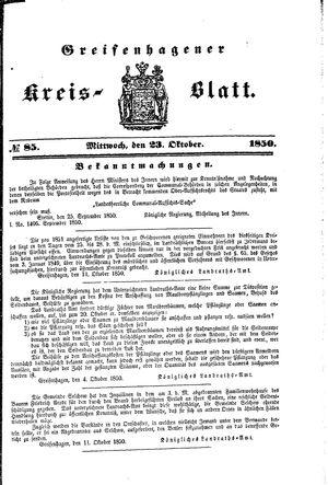 Greifenhagener Kreisblatt vom 23.10.1850