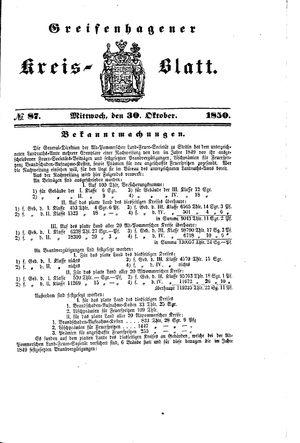 Greifenhagener Kreisblatt vom 30.10.1850