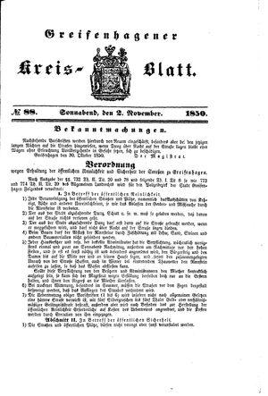 Greifenhagener Kreisblatt vom 02.11.1850