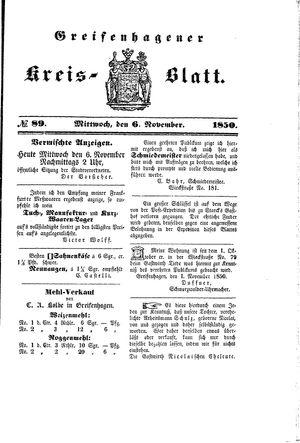 Greifenhagener Kreisblatt vom 06.11.1850