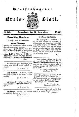 Greifenhagener Kreisblatt vom 09.11.1850