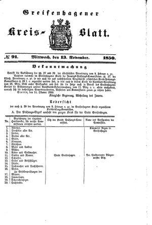 Greifenhagener Kreisblatt vom 13.11.1850