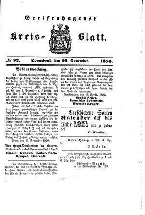 Greifenhagener Kreisblatt vom 16.11.1850