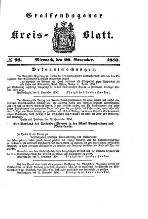 Greifenhagener Kreisblatt vom 20.11.1850