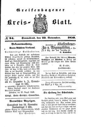 Greifenhagener Kreisblatt vom 23.11.1850