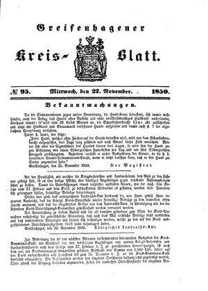 Greifenhagener Kreisblatt on Nov 27, 1850