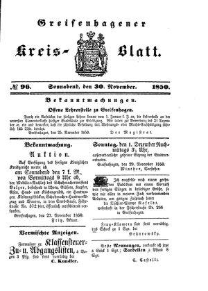 Greifenhagener Kreisblatt vom 30.11.1850