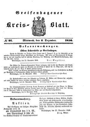 Greifenhagener Kreisblatt vom 04.12.1850