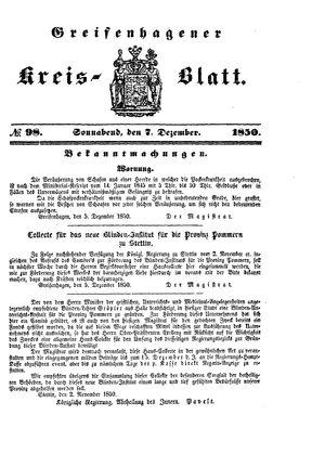 Greifenhagener Kreisblatt vom 07.12.1850