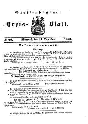 Greifenhagener Kreisblatt vom 11.12.1850