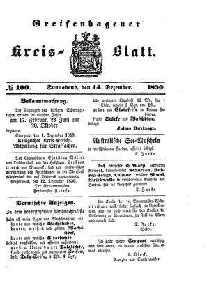 Greifenhagener Kreisblatt vom 14.12.1850