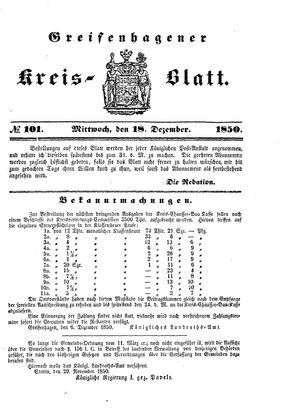 Greifenhagener Kreisblatt vom 18.12.1850