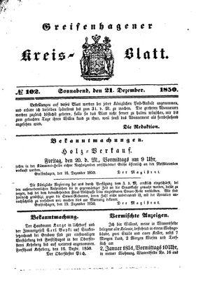 Greifenhagener Kreisblatt vom 21.12.1850