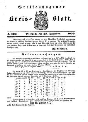 Greifenhagener Kreisblatt on Dec 25, 1850